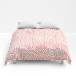 Rose quartz and white swirls doodles Comforters