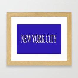 New York City (type in type on blue) Framed Art Print