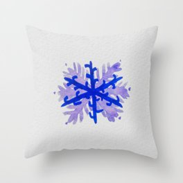 WATERCOLOR SNOWFLAKE 5 - blue and purple palette Throw Pillow