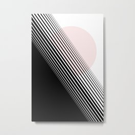 Rising Sun Minimal Japanese Abstract White Black Blush Pink Metal Print