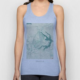Brasilia Map Blue Vintage Unisex Tank Top