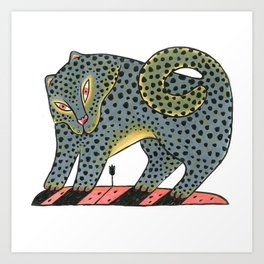 Leopard Dog With Tulip Art Print