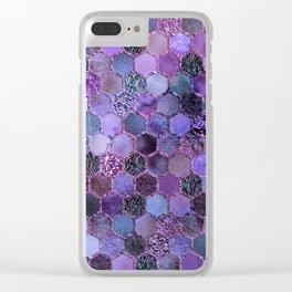 Purple geometric hexagonal elegant & luxury pattern Clear iPhone Case