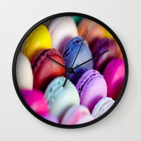 macaroons Wall Clocks featuring Macaroons by rosita