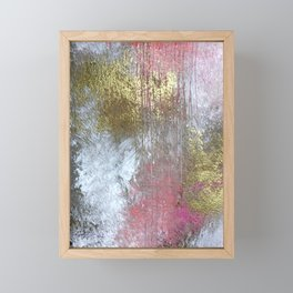 Golden Girl: a pretty abstract mixed media piece in pink, white, gold, and gray Framed Mini Art Print