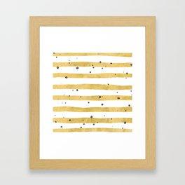 Modern hand painted yellow gold black watercolor splatters stripes Framed Art Print