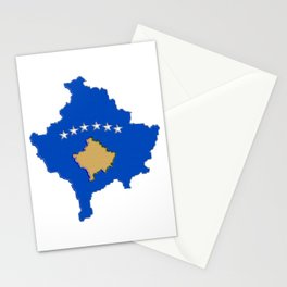 Kosovo map with Flag of Kosovo Stationery Cards