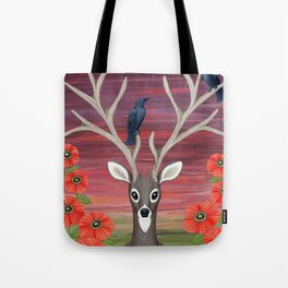 white tailed deer, crows, poppies Tote Bag