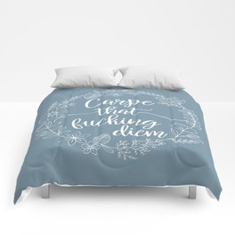 CARPE THAT FUCKING DIEM - Sweary Floral Wreath Comforters