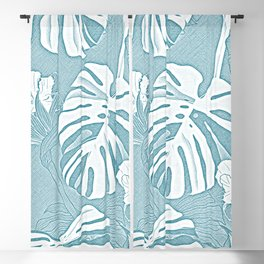 Peaceful Rainforest - Tropical Soft Blue Green Teal Blackout Curtain