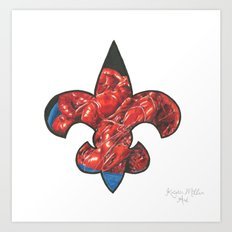 Fleur De Lis Red Crawfish Art Print