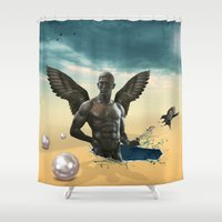 nudes Shower Curtains featuring dream  by mark ashkenazi