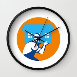 House Remover Carrying House Circle Retro Wall Clock