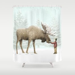 Winter Moose Shower Curtain