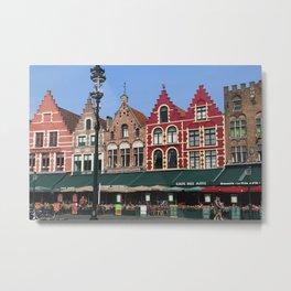 BELGIUM BRUGGES HOUSES Metal Print
