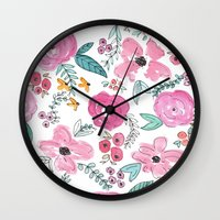 sayings Wall Clocks featuring Pink Watercolor Floral Print  by Jenna Kutcher