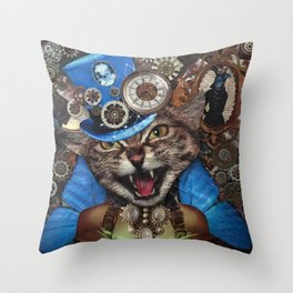 Miss. Steampunk Pussy Throw Pillow