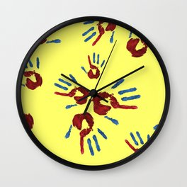 Red palm with blue fingers on yellow Wall Clock