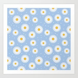 White daisies on a blue background Art Print
