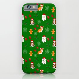 Christmas,festive puppies pattern,green background  iPhone Case