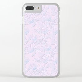 Delicate light blue roses on light pink background. Clear iPhone Case
