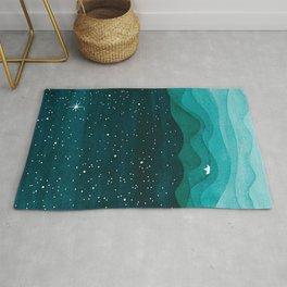 Starry Ocean, teal sailboat watercolor sea waves night Rug