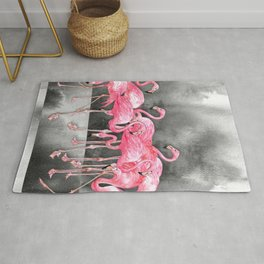 Flamingo Collage in Watercolor and Ink Rug