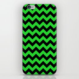 Large Black and Bright Monster Green Halloween Chevron Stripes iPhone Skin