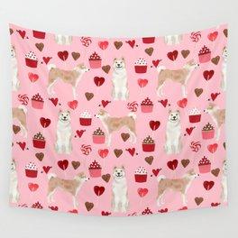 Akita valentines day cupcakes dog breed hearts pet portrait akitas pet friendly Wall Tapestry