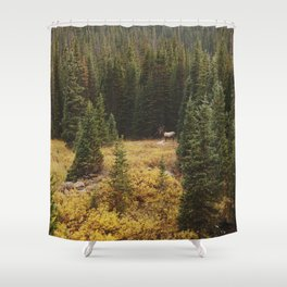 Rocky Mountain Creek Elk Shower Curtain