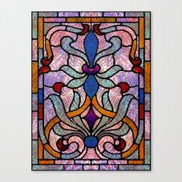 Art Nouveau Stain Glass Victorian Pastel Design Canvas Print
