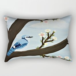 Blue Jay on Almond Blossom Tree Rectangular Pillow