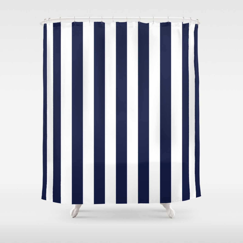 Maritime Pattern Darkblue Stripes On Clear White Vertical Shower Curtain