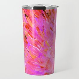 SEA SCALES IN PINK - Hot Pink Feminine Beach Ocean Waves Feathers Abstract Acrylic Painting Fine Art Travel Mug