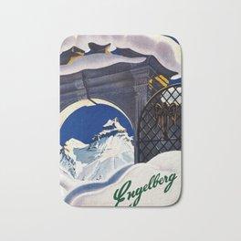 Vintage Engelberg Switzerland Travel Bath Mat