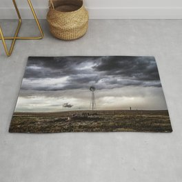 No Man's Land - Windmill on Stormy Day in Oklahoma Panhandle Rug