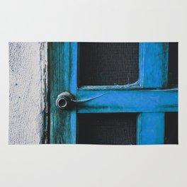 closeup old blue vintage wood door texture background Rug