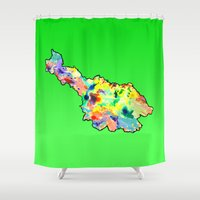 water colour Shower Curtains featuring Cavan Water Colour by Kramcox