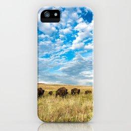 Grazing - Bison Graze Under Big Sky on Oklahoma Prairie iPhone Case