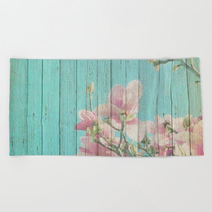 Sweet Flowers on Wood 08 Beach Towel