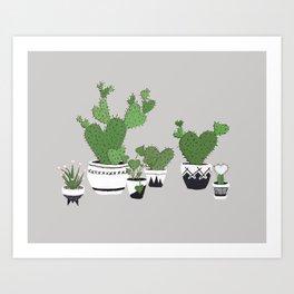 Cactus Love (in gray) Art Print