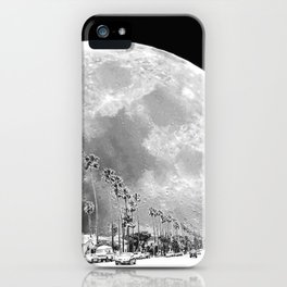 California Dream // Fantasy Moon Beach Sidewalk Black and White Palm Tree Silhouette Collage Artwork iPhone Case