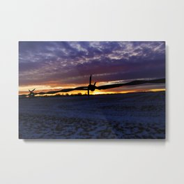 Barbed Wire in the Sunset Metal Print