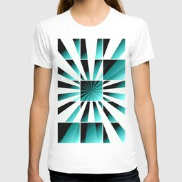 Abstract geometric turquoise T-shirt