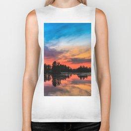 Summer Sunset over Lake Biker Tank