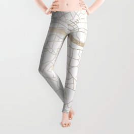 White on Gold London Street Map Leggings