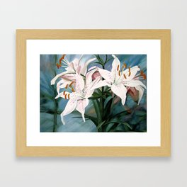 Watercolor Botanical Garden Flower White Lilies Framed Art Print