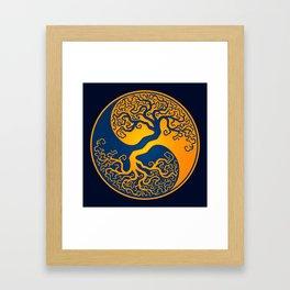 Blue and Yellow Tree of Life Yin Yang Framed Art Print