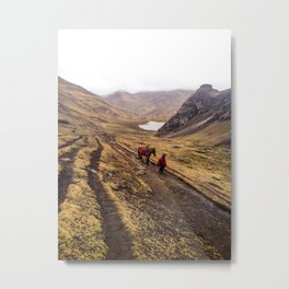 Boy and Horse in Peruvian Mountains Metal Print