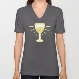 Kawaii White Wine Glass Unisex V-Neck